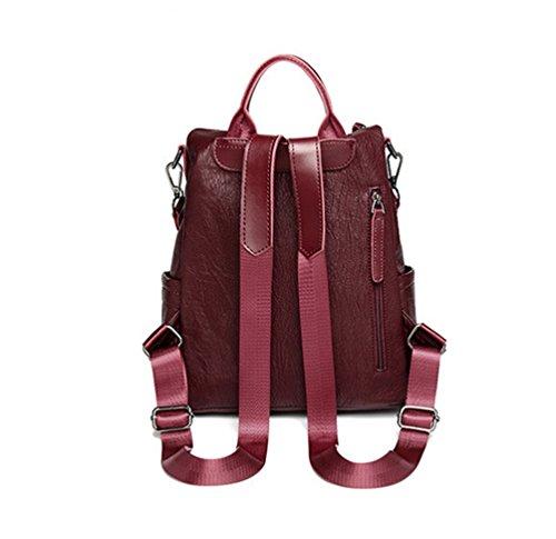 Einkaufen D PU YouPue Damen Rot Leder Wein Schultertasche für Reise Multifunktion Rucksack Büchertasche SwfgfqxU