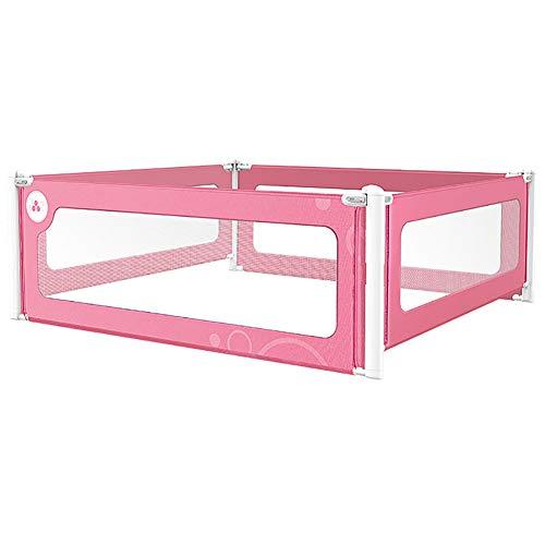 Barrière de sécurité pour tout-petits, barrière de lit double anti-collision pour lit queen, barrière anti-renversement pour enfants, 4 panneaux, rose (taille : 200×200cm)