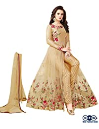 NewFashionWeek Women's Beige Colored Art Silk & Net Resham Embroidery With Stone Work Semi Stitched Indo Western...
