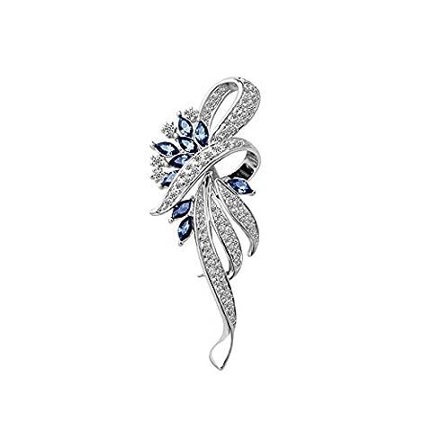 Merdia Created Crystal Fancy Vintage Style Brooch Pin for Women, Girls, ladies, Blue color