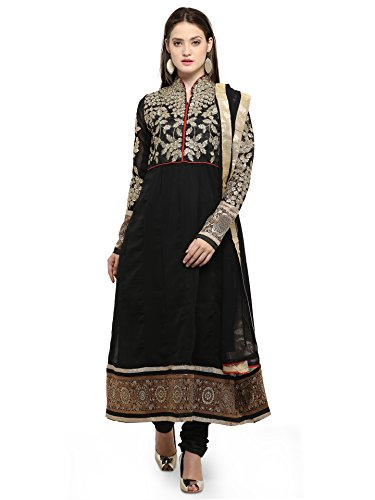 Ishin Faux Georgette Black Embroidered Party Wear Wedding Wear Casual Wear Bollywood New Collection Latest Design Trendy Unstitched Salwar Suit Dress Material (Anarkali/Patiyala) With Dupatta  available at amazon for Rs.499