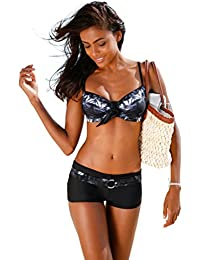 252197ada5ad WanYang Femme Sexy Bikini 2 Pieces Set Push-up Rembourré Maillot de Bain  Shorty