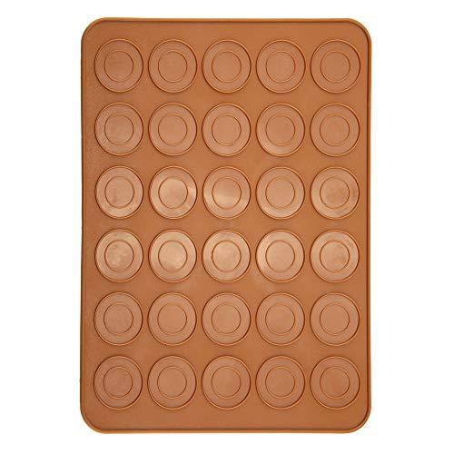Silikonmatte mit 30 Kapazitäten, runde Form, für Makronen, Antihaft-Silikon-Einsatz für Gebäck und Kuchen, hitzebeständig, rutschfest