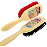 Mega Hb 444 Plastic Coat/Clothes/Sofa/Couch/Car Seat/Cleaning Brush (1 Hard and 1 Soft Brush, Large, Ivory)