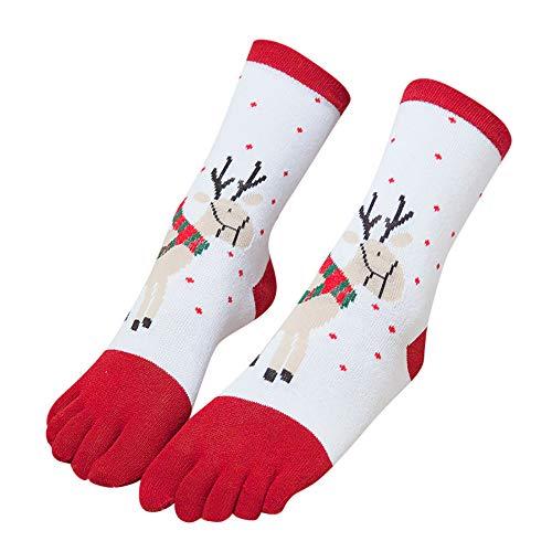 ZEELIY Chaussettes à bout multicolores imprimées de Noël...