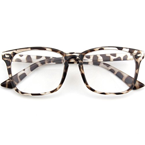 CGID CN82 Damen Herren Streberbrille:klassische Fashion Brille Oversized Bold Large Square Frame Keyhole Nerd Geek Style,Mehrfarbig Braun