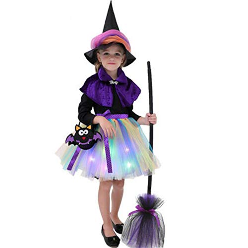 Yqihy Halloween Hexenkostüme für Mädchen Wizard Dress Cape Rollenspiele Fancy Up Outfit with Hat (Festzug Fancy Dress Kostüm)