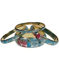 Set of 4 brass bangles with coloured flower pattern design 565-GW
