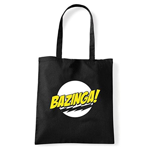 Art T-shirt, Borsa Shoulder Bazinga, Shopper, Mare Nero