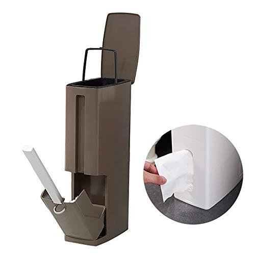 Baffect Badezimmer Behälter und Toilettenbürsten Satz, 4 in 1 Toilettenbürstenhalter und Abfalleimer 2L Slim Bin Multifunktions Platz sparen Toilettenbürste und Tissue Box für Badaufbewahrung (braun) (Slim-tissue-box)