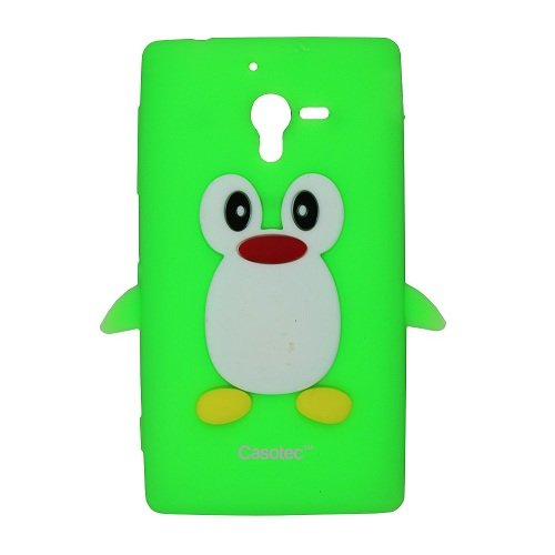 Casotec Penguin Silicone Jelly Back Case Cover for Sony Xperia ZL L35h - Green  available at amazon for Rs.125