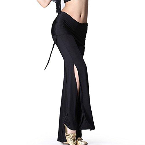 Damens Ladies Tanzen Pants Elastic Trousers Lycra Pants Tanzenwear Side Slit Culottes