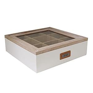 Rétro deux tons 9Compartiment Sachet de Thé Boîte de rangement (adaptateur d'interface)