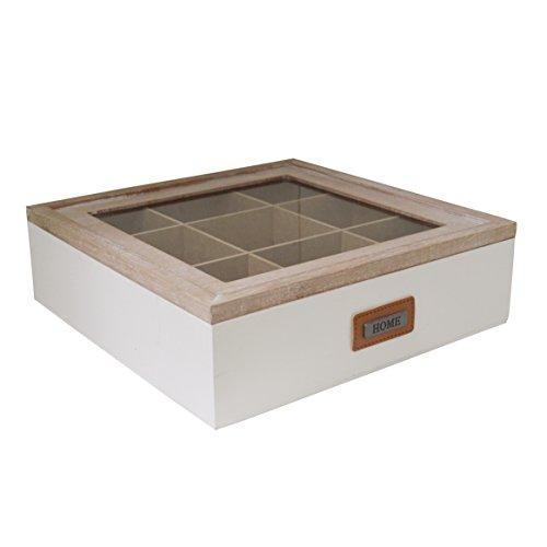 US112 Boîte de rangement rétro bicolore à 9 compartiments pour sachets de thé