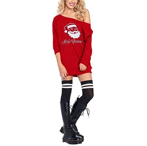 Topgrowth Donne Freddezza Babbo Natale Costume Maglietta Asimmetrico Natale Fantasia Vestito (S, Rooso)
