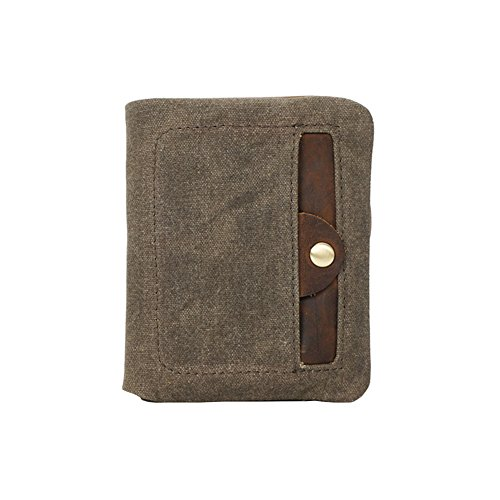 VRIKOO Mens Bifold Canvas Wallet with Zipper & Velcro Front Pocket,Army Green -