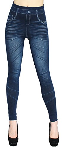 ? Bongual Damen Jeggings Jeans Optik Leggings Schlupfhose