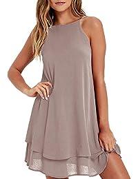 Style Dome Sommerkleid Damen Träger Strand Schulterfrei Kurzarm Einfarbig Casual Locker Kleider