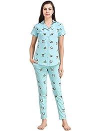 Masha Women's Cotton Night Suit-Sky-Blue-Panda Print.