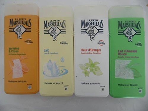 4-x-400-ml-duschgels-von-le-petit-marseillais-fleur-doranger-orangenblute-mandel-amande-lait-milch-v
