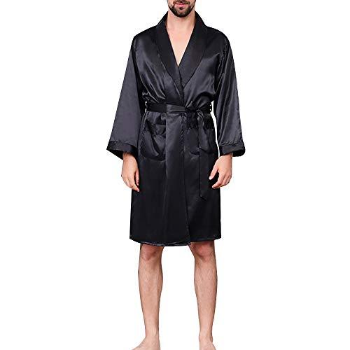 Rera Herren Sommer Morgenmantel Satin Bademäntel Lange Nachtwäsche Klassisch Sexy V Ausschnitt Nachthemd Kimono Robe mit Gürtel