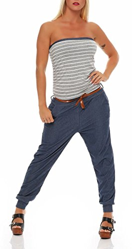 malito Jumpsuit Marine im Jeans-Look Hosenanzug 9650 Damen One Size Grau