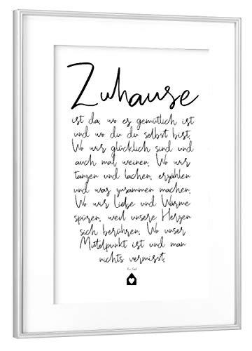 artboxONE Poster mit Rahmen Silber 45x30 cm Zuhause - EIN Gedicht von OHKIMIKO - gerahmtes Poster