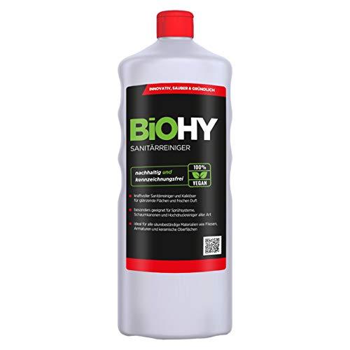 BIOHY Sanitärreiniger 1 Liter Flasche | Kalkzersetzendes Konzentrat für den Sanitärbereich | Hinterlässt angenehmen & frischen Duft | EXTRA STARK
