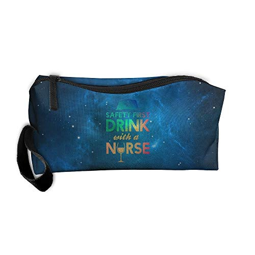 Colorful Safety First Drink With A Nurse Travel Toiletry Bag Pencil Bag Handbag Organizer - Bag Safety First