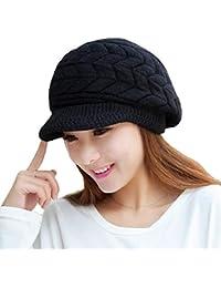 Tuopuda Invierno Gorro Mujer Cálido Sombrero Invierno Boina Hat Tejer  Beanie Gorro Visera Invierno d1101338573