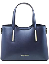 Tuscany Leather Olimpia Sac cabas en cuir Ruga metallic - Petit modèle