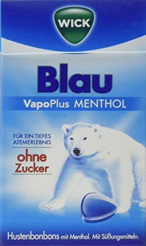 Menthol Mit Zucker (WICK Blau Hustenbonbons ohne Zucker - ein tiefes Atemerlebnis dank Menthol und natürlichem Arvensis Minz-Aroma - 10er Pack (10 x 46 g))