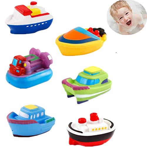 DQTYE 6 Stücke Bad Spielzeug Schwimmboote, Baby Weiche Spritzen Badespielzeug Badewanne Cartoon PU Gummi Schiff Wasser Spiel Lernen Pädagogisches Spielzeug Für Kinder Kleinkinder