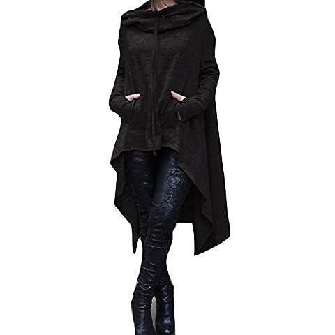 Damen Unregelmäßige Strick Oversize Pullover Asymmetrisch Langarm Tunika Hemd Lose Hooded Sweatshirt Minikleid Schwarz 4XL Highdas