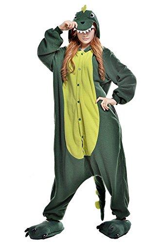 URVIP Erwachsene Unisex Jumpsuit Tier Cartoon Fasching Halloween Pyjama Kostüm Onesie Fleece-Overall Schlafanzug Grün Dinosaurier Large