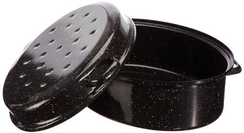 axentia Gansbräter schwarz/weiß 42 cm, Emaille-Bräter mit Deckel, hochwertiger Bräter aus Emaille induktionsgeeignet, pflegeleichter Bratentopf Volumen ca. 10,5 Liter, Deckel als Pfanne verwendbar