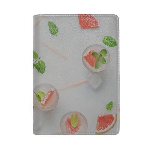 Reife rosa Trauben-Grapefruit-Blockierung Print Passinhabers-Fall Reisegepäck Passport Wallet Kartenhalter mit Leder für Männer Frauen Kinder Familie - Infundiert Alkohol