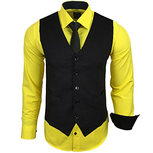 Rusty Neal Herren Anzug Weste Anzugsweste Sakko Weste Wählbar mit Hemd RN-44-HWK, Farbe:Gelb;Größe:L