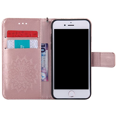 iPhone 7 Hülle,iPhone 7 2016 Schutzhülle,JAWSEU Retro Cool Lanyard/Strap Bookstyle Prägung Tribal Elefant Muster Pu Ledertasche Magnetverschluss Handyhülle Wallet Brieftasche Etui Case Cover mit[Ständ Flower,Rosegold