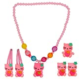 #6: Maayra Kids Necklace Ring Rubber Bands Hair Clips combo Kitty in Pink for Dailywear Pack of 6