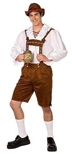 Karneval Klamotten Kostüm Lederhose Herren Bayer mit Hemd Luxus Bayern-hose Trachten-hose Oktoberfest Tirol Herrenkostüm 52/54
