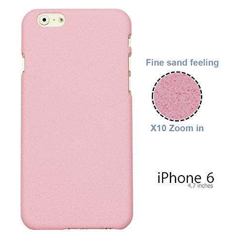 OBiDi - Frosted Surface Hard Back Plastic Case / Housse pour Apple iPhone 6 / 6S (4.7 inch)Smartphone - Blanc avec 3 Film de Protection rose