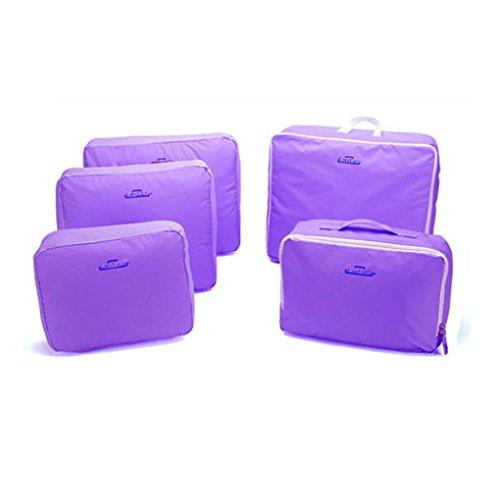 FakeFace 5PCS Set Nylon wassdicht Kulturbeutel Reisentasche Kosmetikumbeutel für Koffer Aufbewahrungsbeutel Lila