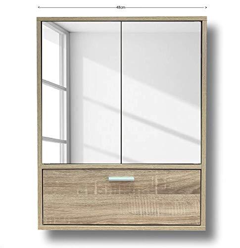 Cflagrant® - Armario de Pared de baño o baño, 2 Puertas Espejos y una Puerta, Color Roble Dimensiones...