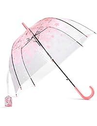 Paraguas Transparente Niña,LUOLLOVE Rosa Paraguas de Lluvia a Prueba de Viento,Paraguas Burbuja
