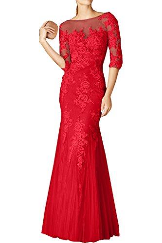 Charmant Damen Rosa Spitze Langarm Trumpet Abendkleider Promkleider Partykleider Bodenlang fesltichkleider Rot