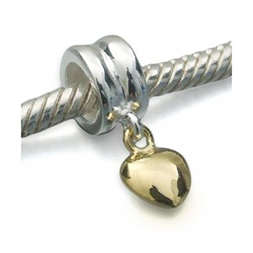 Andante-Stones 925 Sterling Silber Dangle Gold Bead Charm