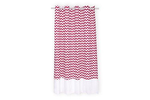 KraftKids Gardine Uniweiss Chevron magenta aus 100% Baumwolle, stilvolle Vorhänge mit Ösen, Gardinen 230 cm lang für das Kinderzimmer