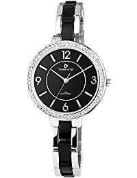 Reloj analógico Timento, de metal, diámetro de 38 mm, colour negro y plateado - 510021000003