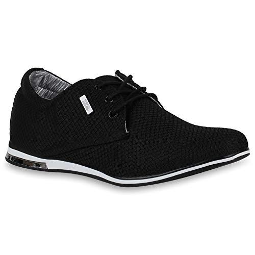 Stiefelparadies Klassische Herren Halbschuhe Strick Schuhe Schnürer Metallic Business Sneaker Schnürschuhe 172776 Schwarz Muster 41 Flandell
